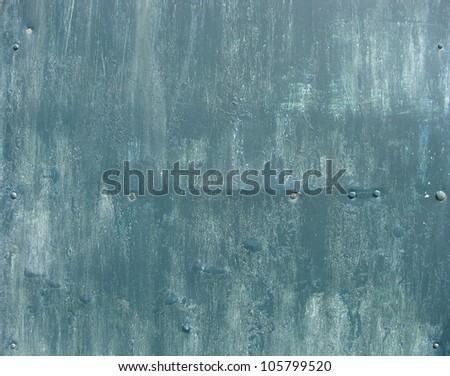 paint brush grunge blue metal surface - stock photo