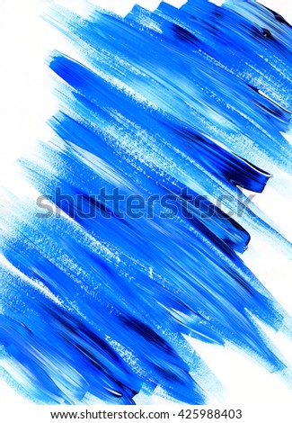 Exceptionnel Paint Brush Stroke Texture. Blue Acrylic Paint Blotch Isolated On White  Background