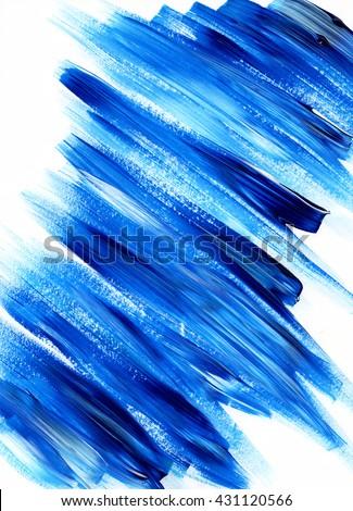 Merveilleux Paint Brush Stroke Texture. Blue Acrylic Paint Blotch Isolated On White  Background