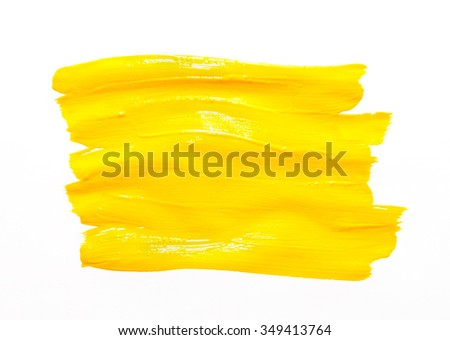 Paint brush stroke texture yellow watercolor isolated on a white background - stock photo
