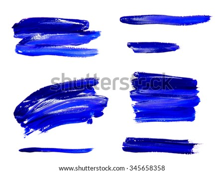 Paint brush strokes texture blue watercolor isolated on a white background - stock photo