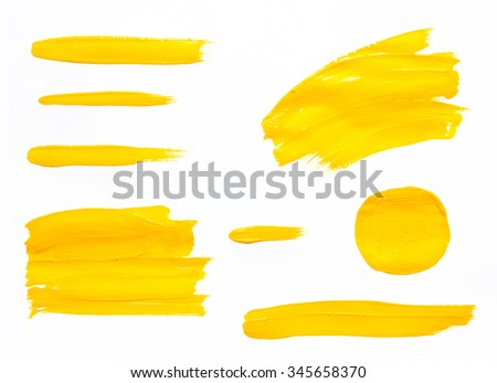 Paint brush strokes texture yellow watercolor isolated on a white background - stock photo