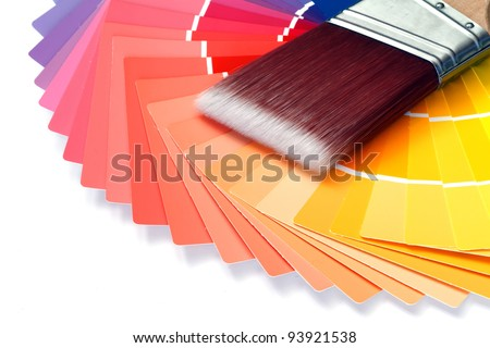 paint brush with paint swatches - stock photo