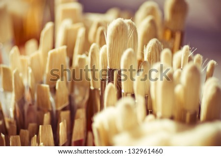 Paint brushes background - stock photo