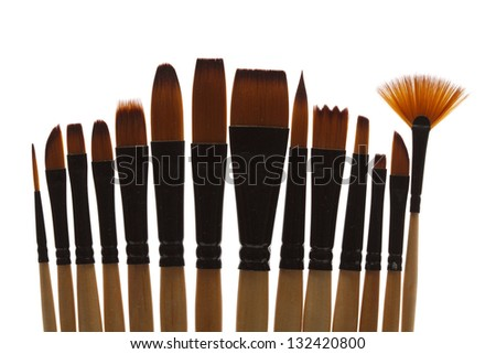 Paint brushes, isolated on a white background - stock photo