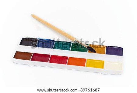 Paint brushes isolated on the white background, set