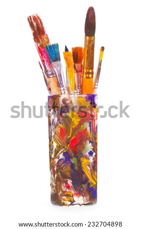 Paint brushes isolated on white background - stock photo