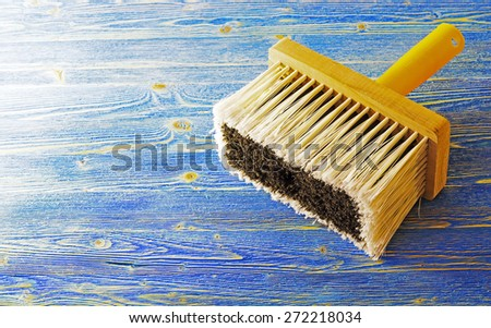 Paint brushes on before work - stock photo