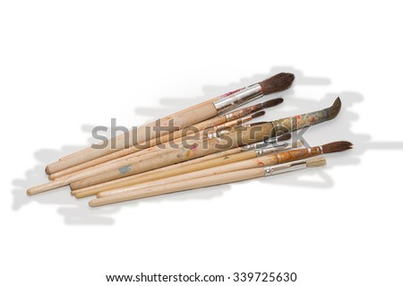 Paint brushes. Paint brushes of different length, thickness and stiffness.