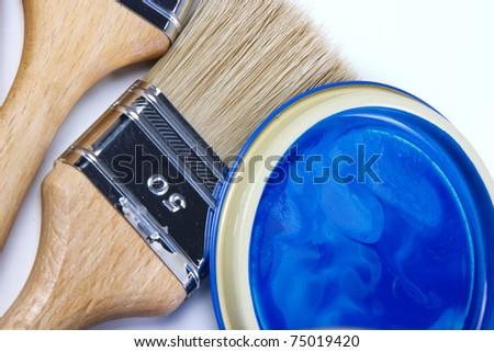 paint bucket and paintbrush - stock photo