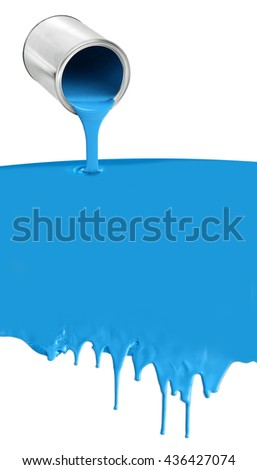 Paint can pouring dripping blue paint on white background - stock photo