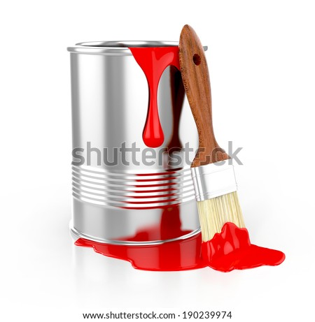 paint can with paintbrush and dripping red paint isolated on white background. 3d illustration - stock photo
