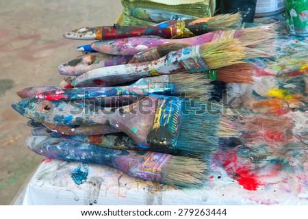 Paint cans color palette. - stock photo