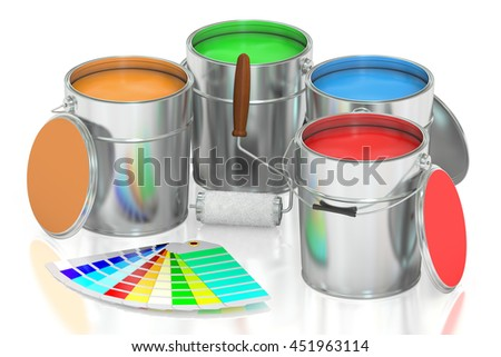 Paint cans, palette and roller brush. 3D rendering isolated on white background
