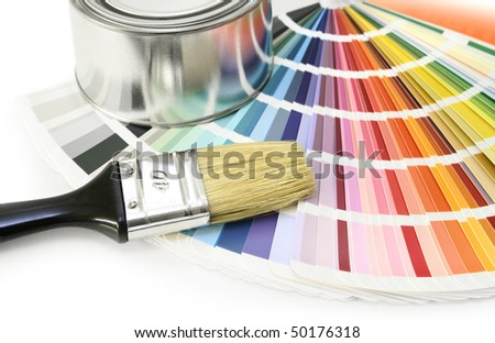 Paint color chart sample swatches, paint brush and can - stock photo