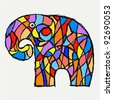 Paint elephant illustration on paper - stock vector