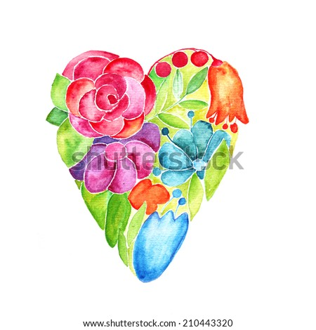 Paint heart. Romantic card with colorful floral heart. Love decoration. Valentine card. - stock photo