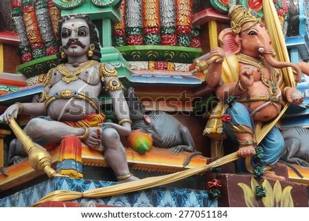 Paint Hindu statues in Sri Lanka (Trincomalee) - stock photo