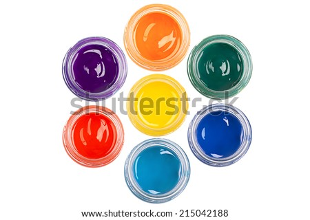 Paint in the glass jars on the isolated on white  background  - stock photo