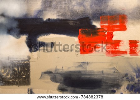 Paint on Canvas: Abstract Art with Red, Blue and White Hues - Background.