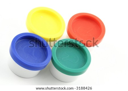 Paint pots on a white background
