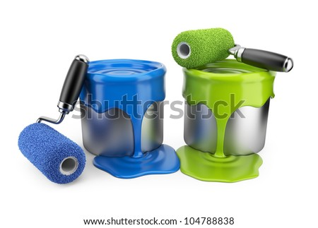 Paint roller and can. Painter concept. 3D Icon isolated on white background - stock photo
