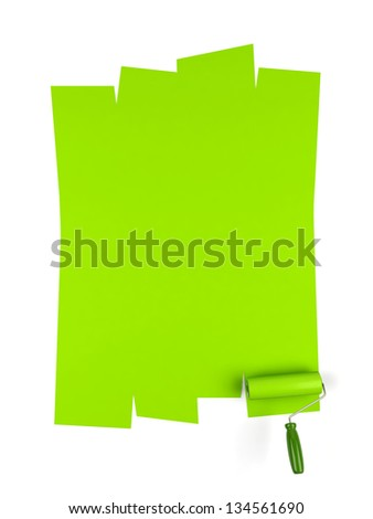 Paint roller and green paint. 3d image. - stock photo