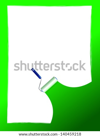 Paint roller and paint stripe frame. illustration design over white