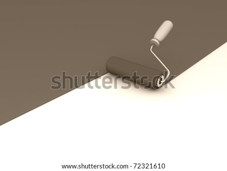 Paint roller and red paint. 3d illustration
