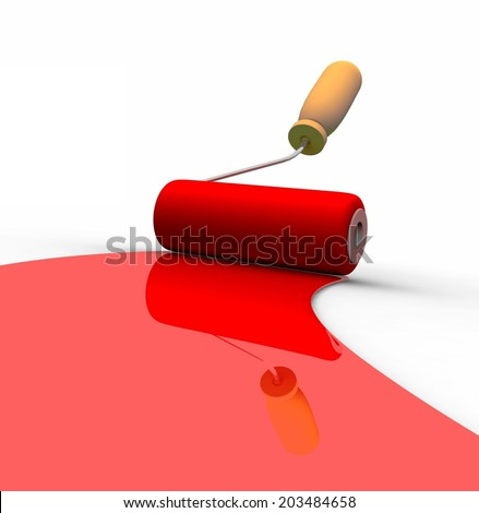 Paint roller and red paint stripe. 3d illustration - stock photo