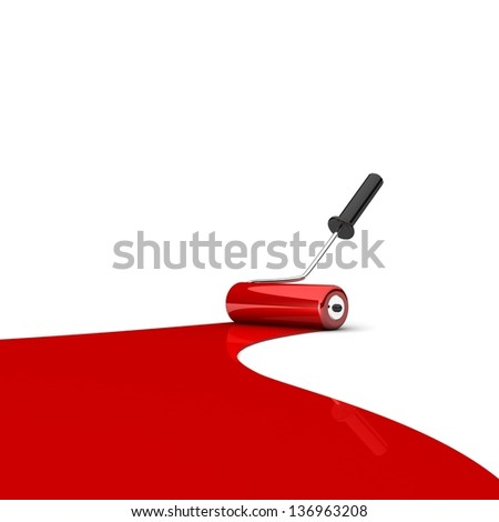 Paint roller and red paint stripe. 3d illustration. Art concept. Space for your text or image - stock photo