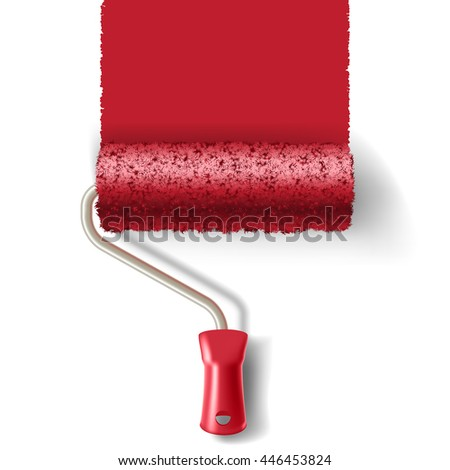 Paint roller brush with red paint track isolated on white background. applicable for banners and labels.  - stock photo
