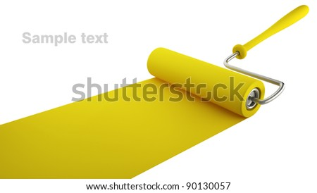 Paint roller draw a palette. Iisolated on white background. High resolution. 3D image - stock photo