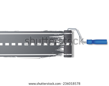 paint roller draws the road - stock photo
