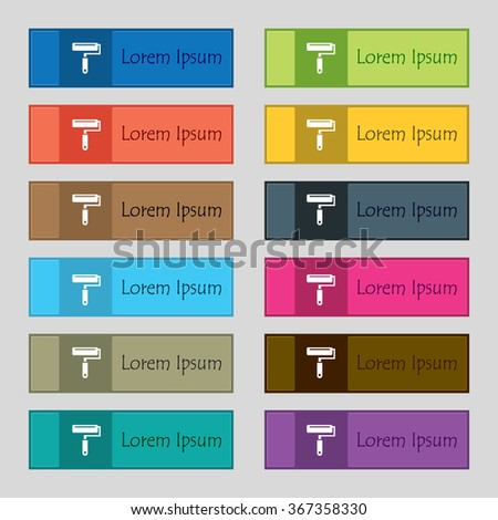 Paint roller icon sign. Set of twelve rectangular, colorful, beautiful, high-quality buttons for the site. illustration - stock photo