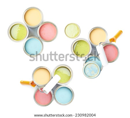 Paint roller over the opened cans of paint, top view above, composition isolated over the white background, set of three images - stock photo