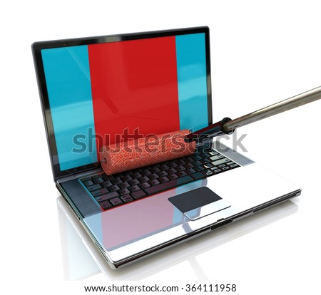 paint roller painting a laptop screen - stock photo