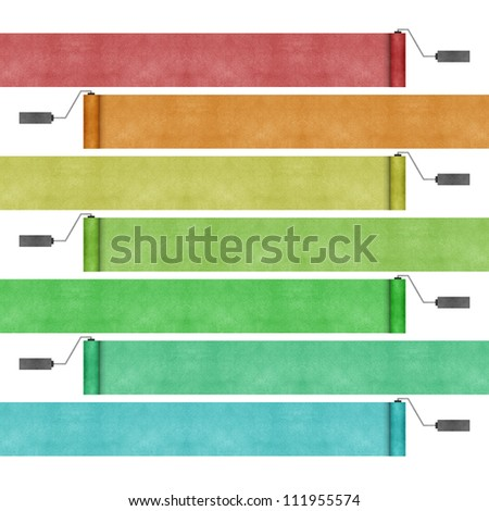 Paint roller recycled papercraft background - stock photo