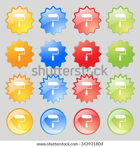Paint roller sign icon. Painting tool symbol. Big set of 16 colorful modern buttons for your design. illustration - stock photo
