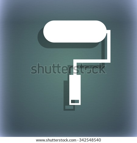 Paint roller sign icon. Painting tool symbol. On the blue-green abstract background with shadow and space for your text. illustration - stock photo
