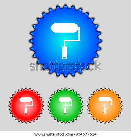 Paint roller sign icon. Painting tool symbol. Set of colored buttons. illustration - stock photo