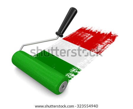 Paint roller with Italian flag (clipping path included)