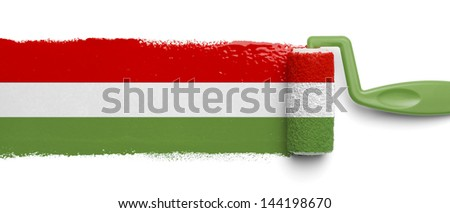 Paint Roller with Mexican Flag Colors Isolated in White Background. - stock photo