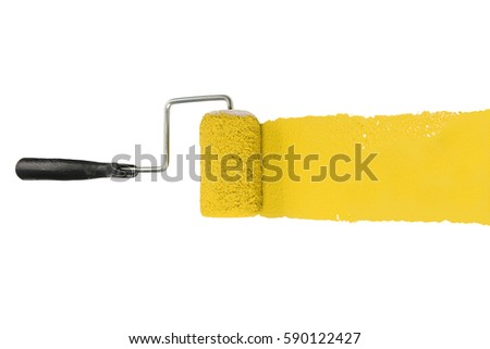 Paint roller with yellow pigment isolated over white background