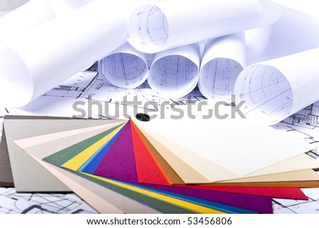 paint samples on plans background - stock photo