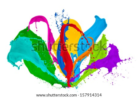 paint splash collection isolated on white background - stock photo