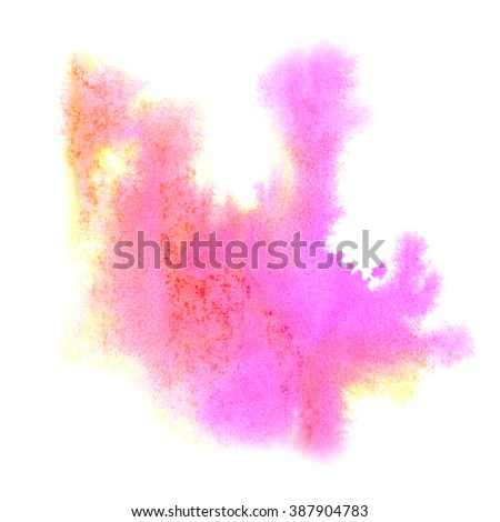 paint splash color pink yellow ink watercolor isolated stroke splatter watercolour aquarel brush