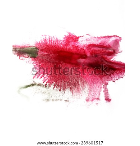 paint  splash  ink pink, green blot and white abstract art brushes isolated