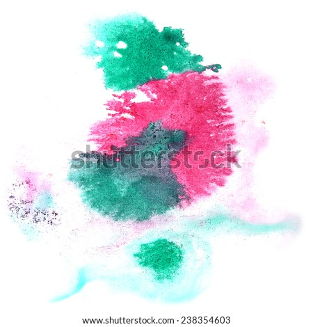 paint splash ink stain watercolour pink, green blob spot brush watercolor abstract background texture