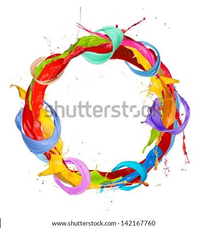 Paint splashes circle isolated on white background - stock photo